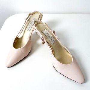 Vintage Pastel Pink Sling Back Kitten Heels